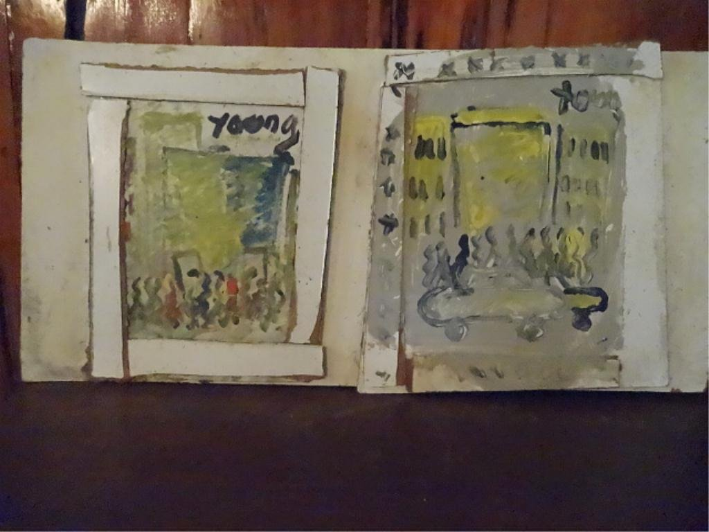 2 PURVIS YOUNG PAINTINGS ON BOARD, ABSTRACT CITYSCAPES,