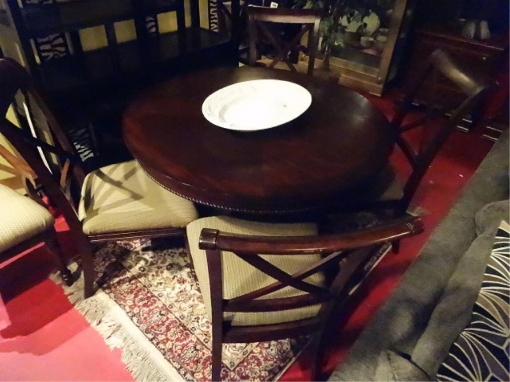TRANSITIONAL ROUND DINING TABLE, PINEAPPLE PEDESTAL - 2