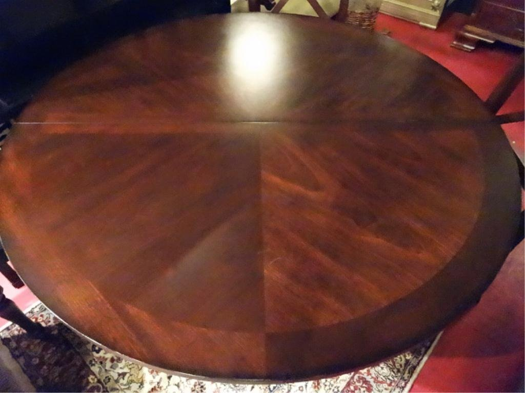 TRANSITIONAL ROUND DINING TABLE, PINEAPPLE PEDESTAL - 4