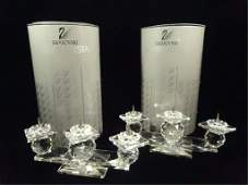 PAIR SWAROVSKI CRYSTAL CANDLEHOLDERS 3 LIGHTS EACH