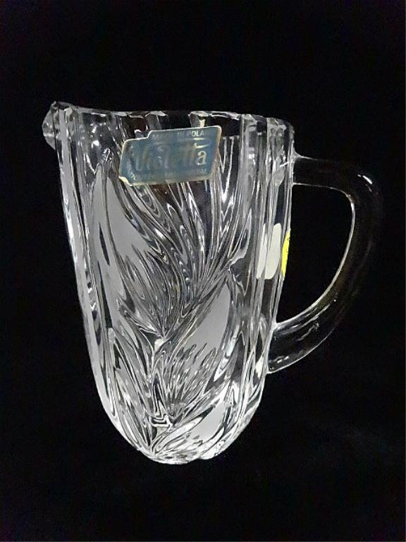 VIOLETTA LEAD CRYSTAL PITCHER, MADE IN POLAND, APPROX