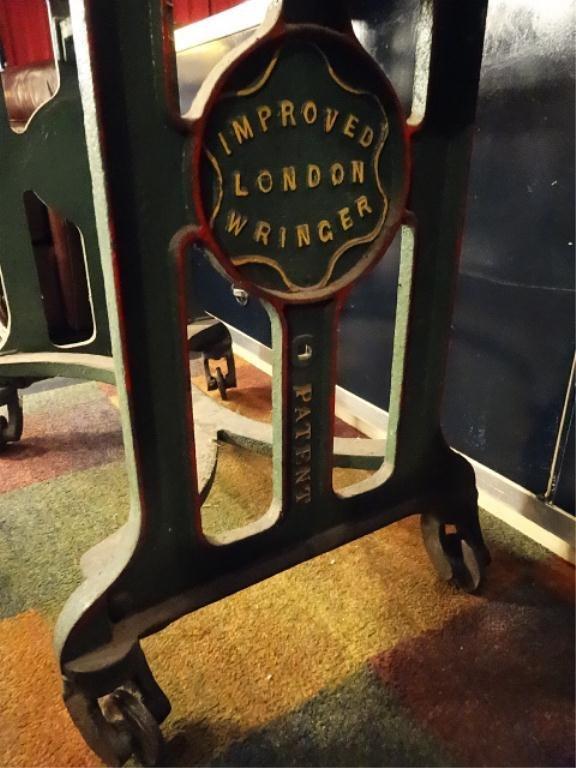 ANTIQUE LONDON CLOTHES WRINGER (MANGLER), METAL BASE, - 6