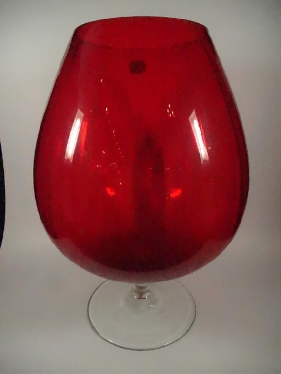 """LARGE RUBY GLASS GOBLET VASE, 14.75""""H, SKU5684.72"""