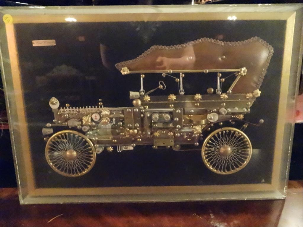 Framed Model T 1908 Ford Created From Thimbles Safety