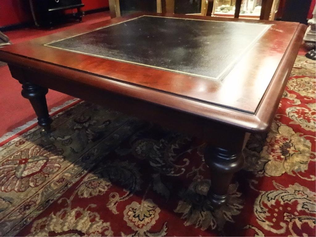 lauren wood coffee table gilt leather top brass