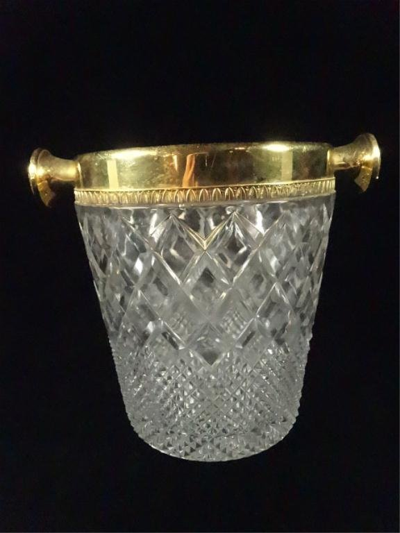 """WINE / ICE BUCKET, CRYSTAL WITH GOLD RIM, APPROX 9"""" X"""