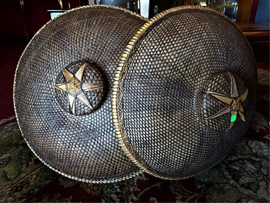 2 PC LOT ASIAN STRAW HATS WITH STAR DESIGN, LARGEST