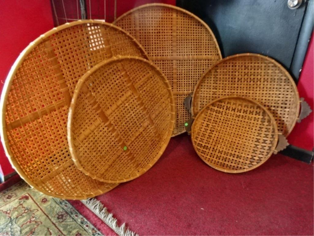 5 PC LOT LARGE ASIAN RATTAN TRAYS, 2 WITH WOOD HANDLES,