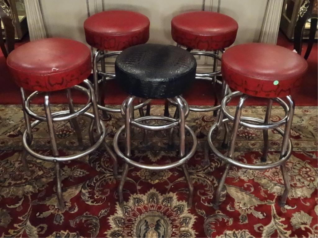 5 CHROME BARSTOOLS, MID CENTURY, VINYL SETS (4 RED, 1