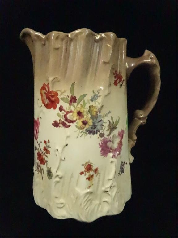 """ANTIQUE STOKE ON TRENT POTTERY PITCHER, APPROX 7.25""""H,"""
