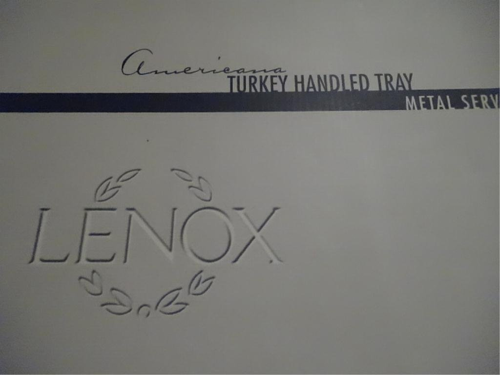 LENOX METAL SERVEWARE TURKEY PLATTER, WITH BOX, APPROX - 4
