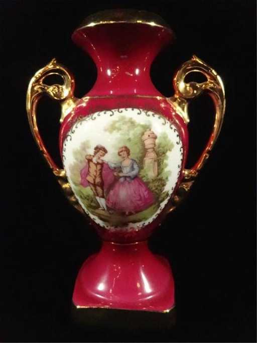 Limoges France Porcelain Vase With Handles Magenta