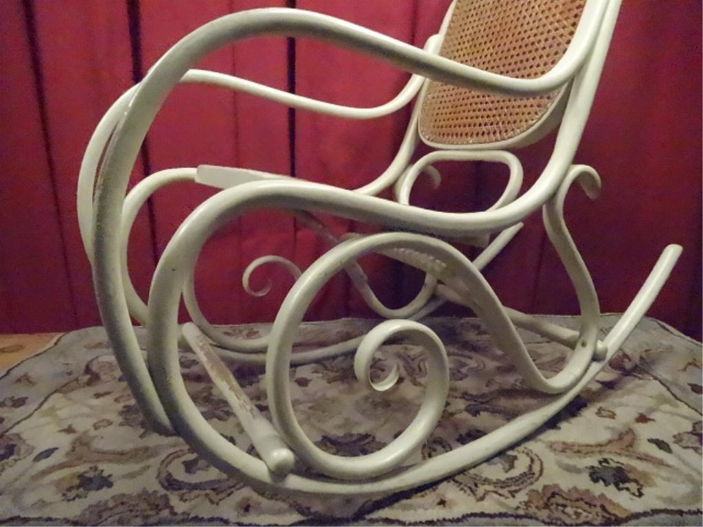 THONET STYLE BENTWOOD ROCKER, WHITE FINISH, CANE SEAT - 3