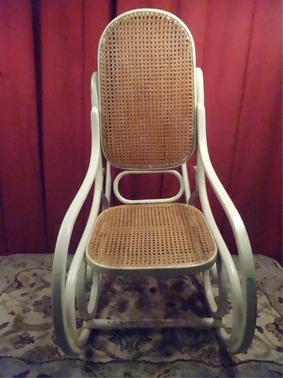 THONET STYLE BENTWOOD ROCKER, WHITE FINISH, CANE SEAT - 4