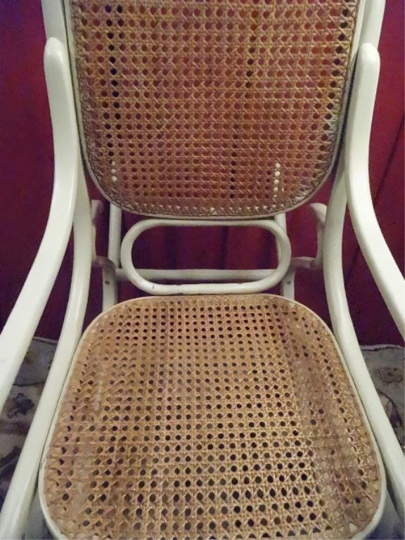 THONET STYLE BENTWOOD ROCKER, WHITE FINISH, CANE SEAT - 5