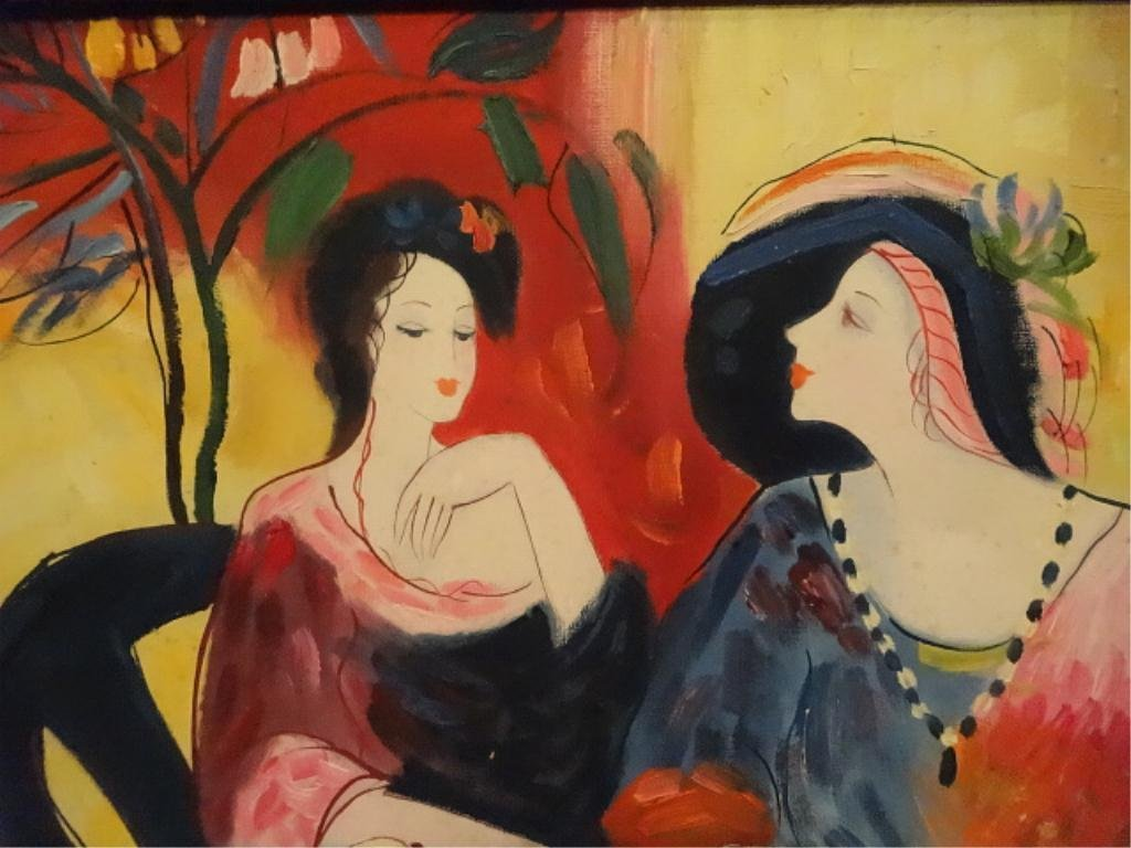 T. FOURNIER SIGNED PAINTING ON CANVAS, LADIES AT LUNCH, - 2