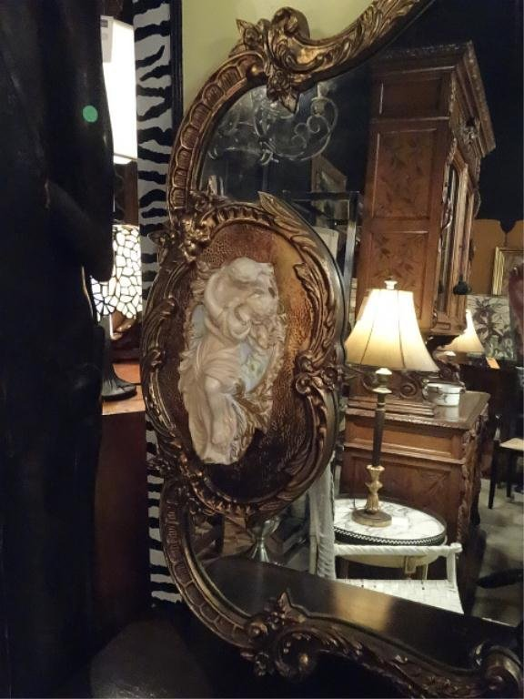 LARGE ROCOCO MIRROR, GOLD FINISH FRAME WITH OVAL - 5