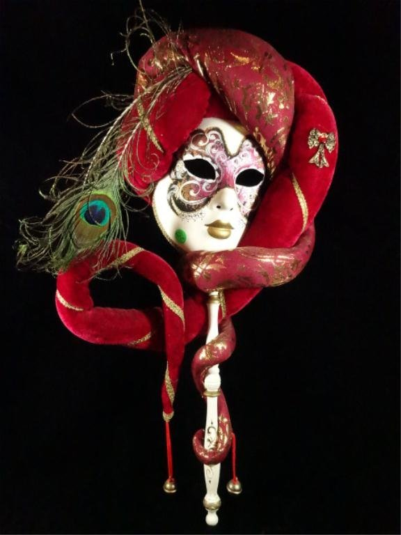 VENETIAN LADY'S CARNIVAL MASK, MADE IN VENICE, ITALY,