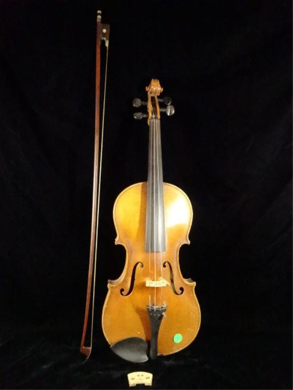 "VIOLIN, GERMAN MANUFACTURE, APPROX 23.5""L, WITH BOW"