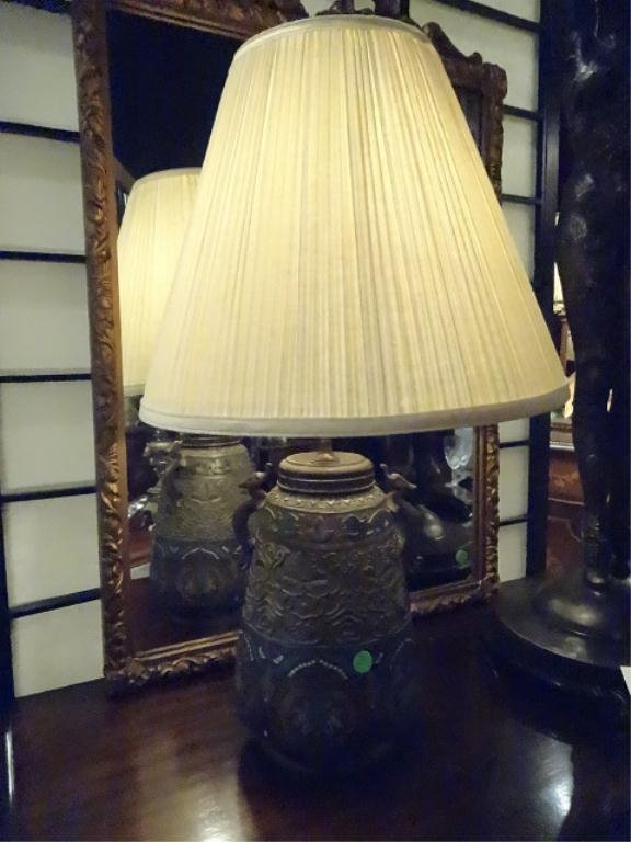 CHAMPLEVE TABLE LAMP, FIGURAL HANDLES, ENAMELED