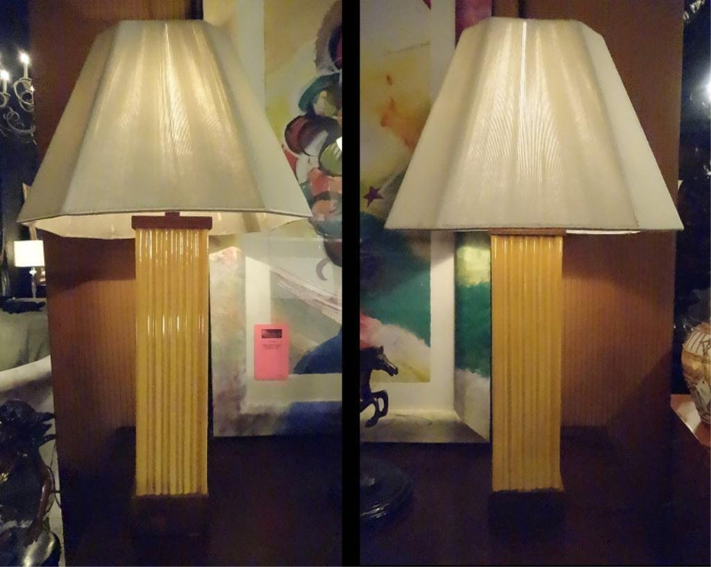 PAIR 1970's CERAMIC LAMPS, YELLOW FLUTED CERAMIC AND
