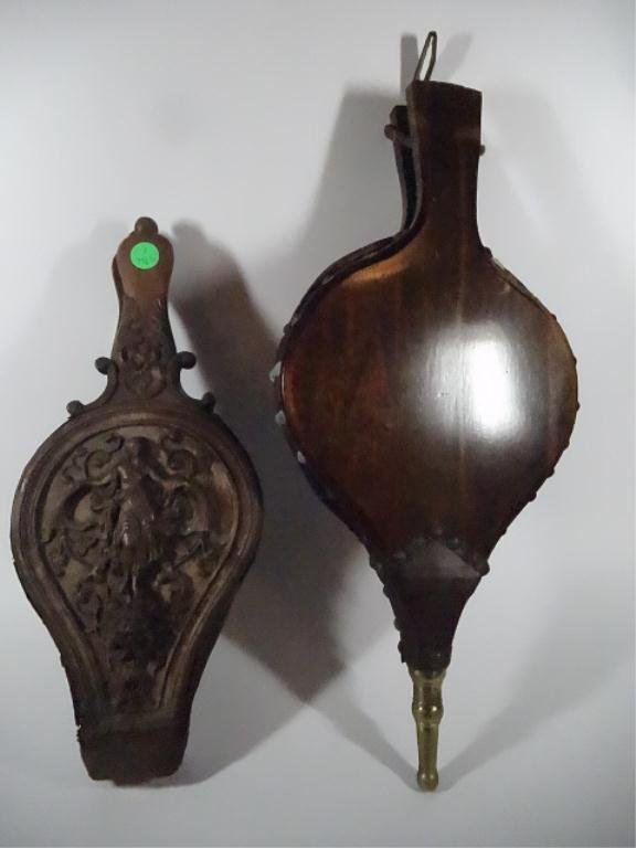 2 ANTIQUE FIRE BELLOWS, ONE FRENCH CIRCA 1790 (MISSING