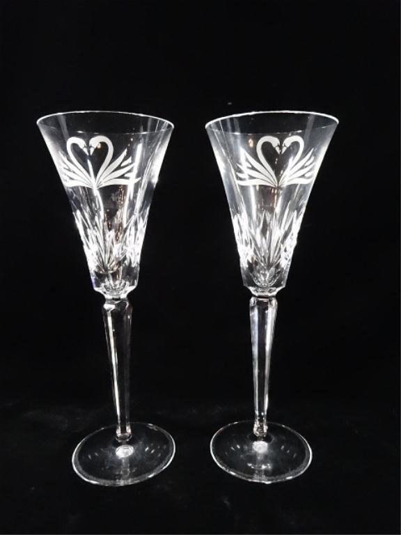 2 WATERFORD CRYSTAL TOASTING FLUTES, ETCHED SWANS