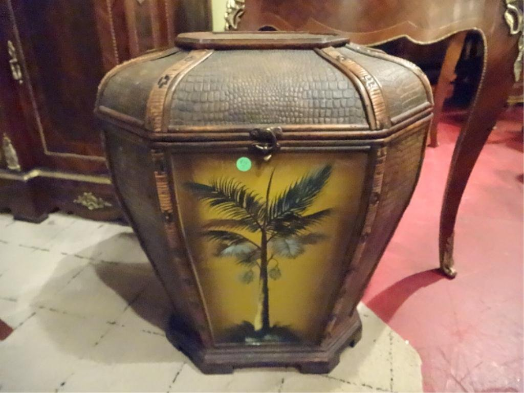 LARGE TOMMY BAHAMA STYLE BASKET, PAINTED PALMS, APPROX