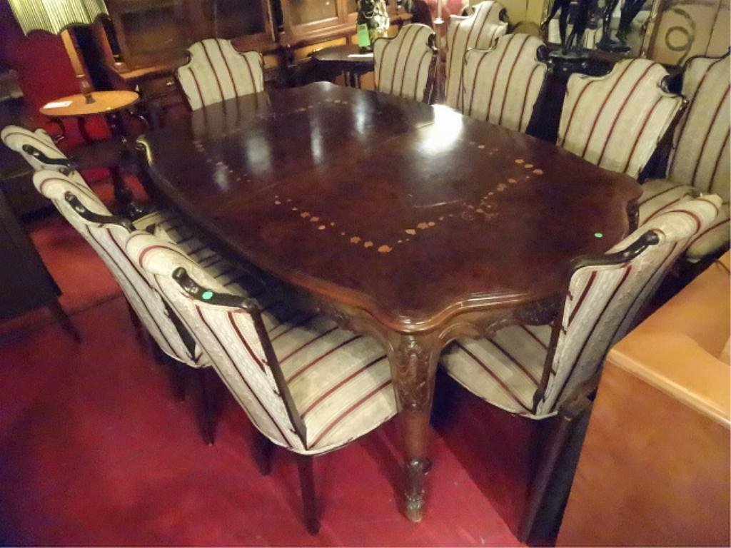 FRENCH MARQUETRY INLAID DINING TABLE AND 10 CHAIRS WITH