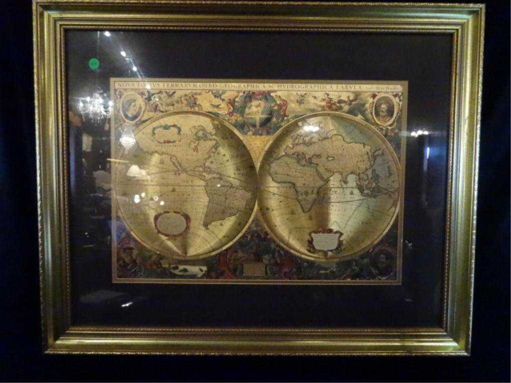 Gold Foil World Map Framed.Antique Reproduction World Map Gold Foil Approx 25 X