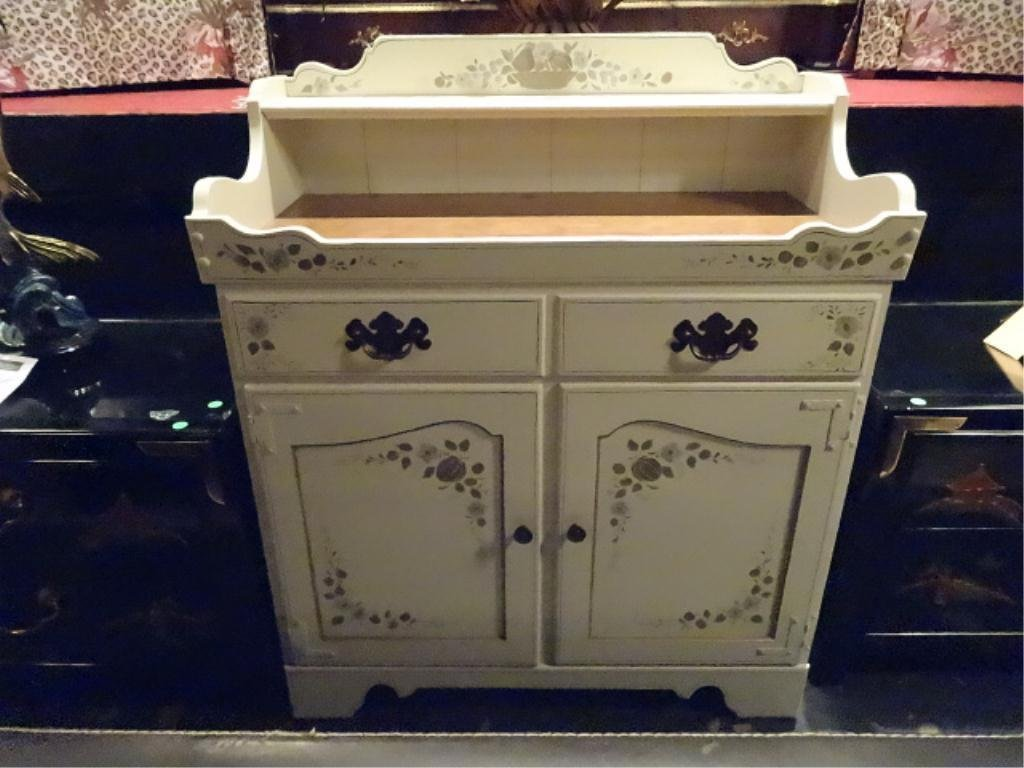 ETHAN ALLEN PAINTED WOOD CABINET OR DRY SINK, 2 DOORS