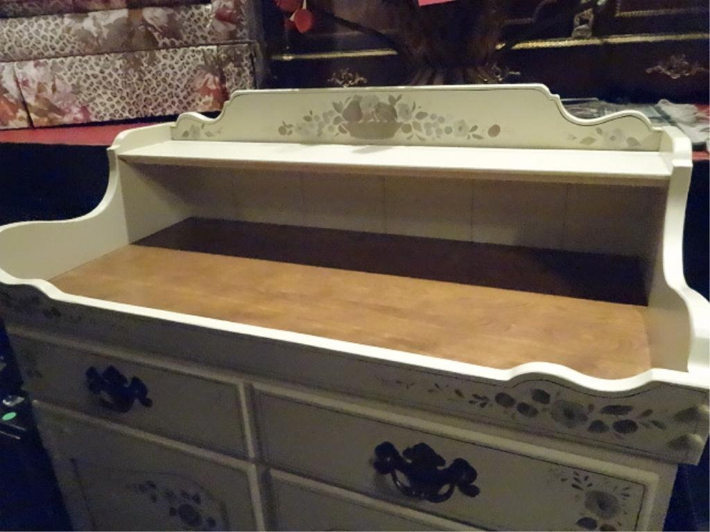 ETHAN ALLEN PAINTED WOOD CABINET OR DRY SINK, 2 DOORS - 3