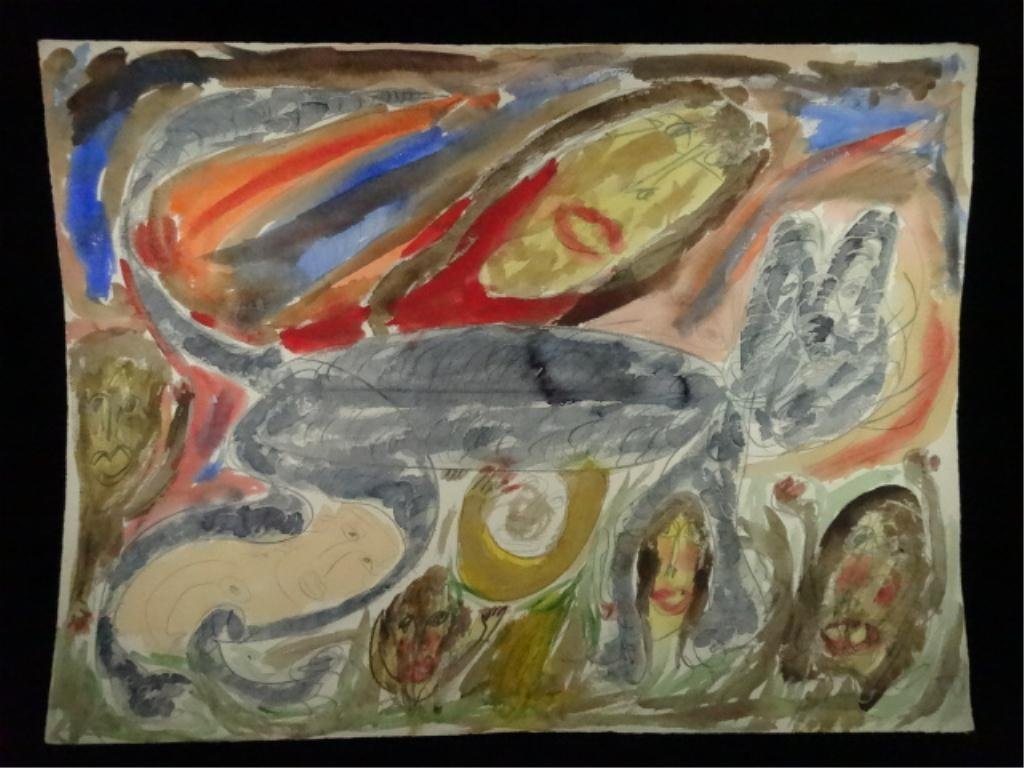 """THORNTON DIAL PAINTING ON PAPER, TITLED """"BIG CAT"""