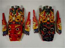 2 COLORFUL BALINESE MASKS CARVED  PAINTED WOOD
