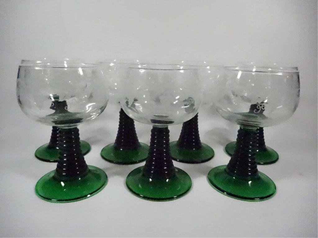 7 LUMINARC WINE GLASSES, GREEN STEMS, MADE IN FRANCE,