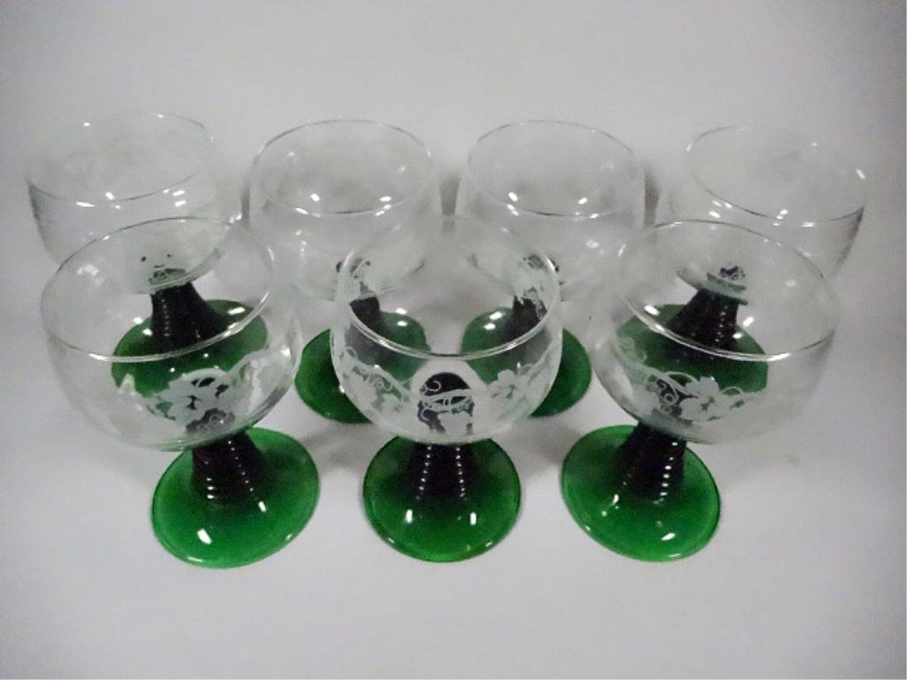 7 LUMINARC WINE GLASSES, GREEN STEMS, MADE IN FRANCE, - 2