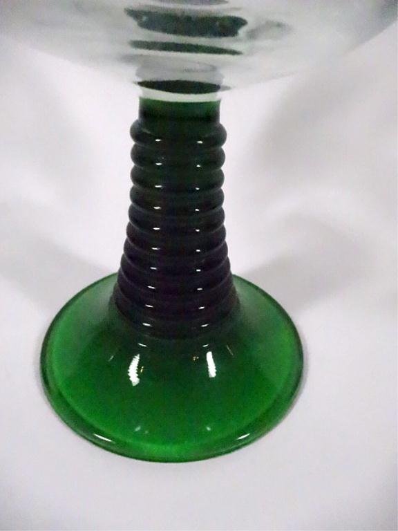 7 LUMINARC WINE GLASSES, GREEN STEMS, MADE IN FRANCE, - 4