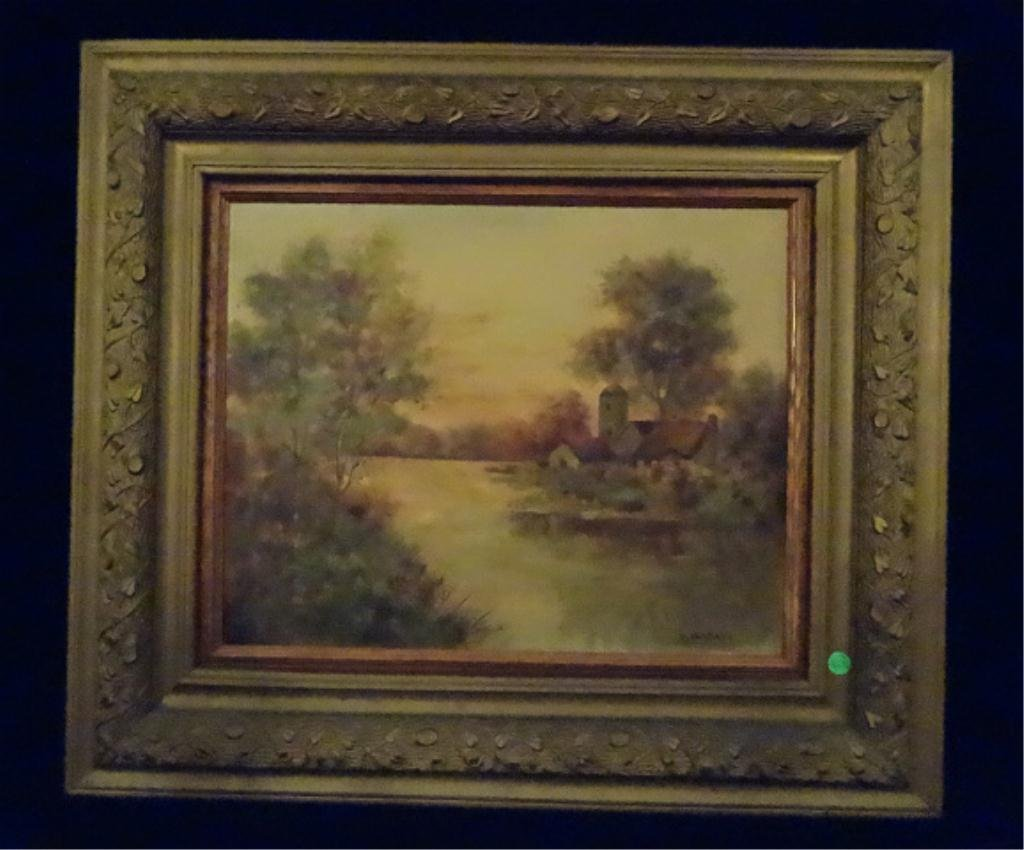 D. WALLACE OIL PAINTING ON CANVAS, LANDSCAPE WITH
