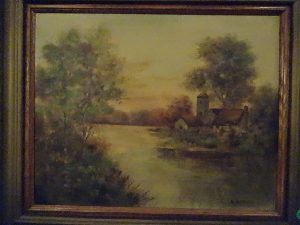 D. WALLACE OIL PAINTING ON CANVAS, LANDSCAPE WITH - 2