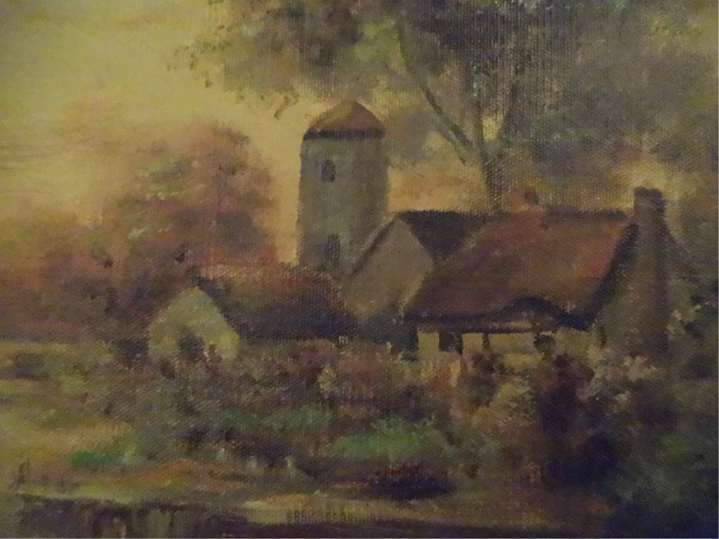 D. WALLACE OIL PAINTING ON CANVAS, LANDSCAPE WITH - 3