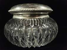 CRYSTAL JAR WITH STERLING SILVER LID APPROX 3 X 425
