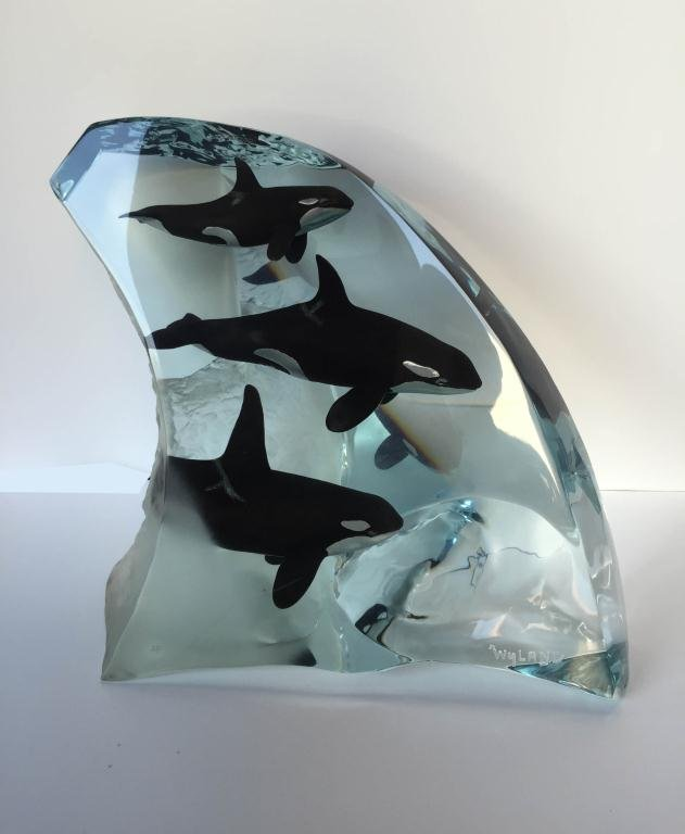 "WYLAND ACRYLIC SCULPTURE, ""ORCA TRIBE"", ARTIST'S PROOF, - 4"