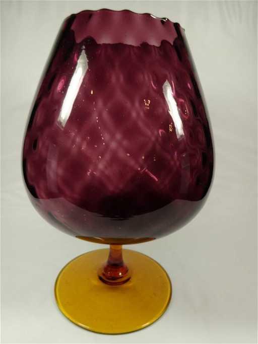 Blenko Glass Brandy Snifter Vase Cranberry With Amber