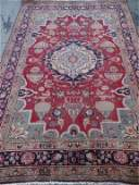 PERSIAN STYLE WOOL RUG, RED, MADE IN IRAN, GOLD AND