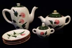 """7 PC STANGL """"THISTLE"""" CHINA, INCLUDES COFFEEPOT,"""