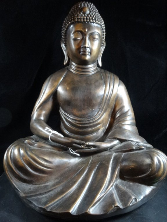 BRONZE SEATED BUDDHA SCULPTURE, ON PAINTED WOOD BASE, - 2