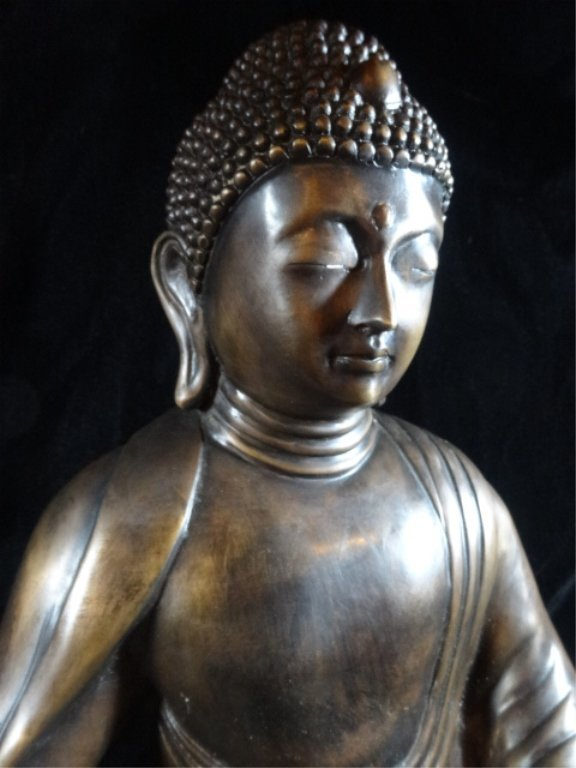 BRONZE SEATED BUDDHA SCULPTURE, ON PAINTED WOOD BASE, - 3