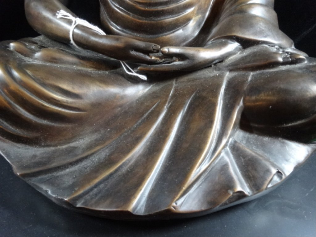 BRONZE SEATED BUDDHA SCULPTURE, ON PAINTED WOOD BASE, - 4