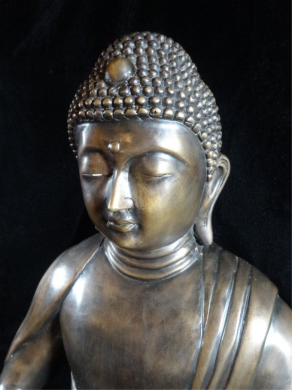 BRONZE SEATED BUDDHA SCULPTURE, ON PAINTED WOOD BASE, - 5
