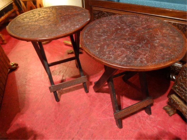 PAIR ANTIQUE WOOD PORTABLE FOLDING TABLES, CARVED
